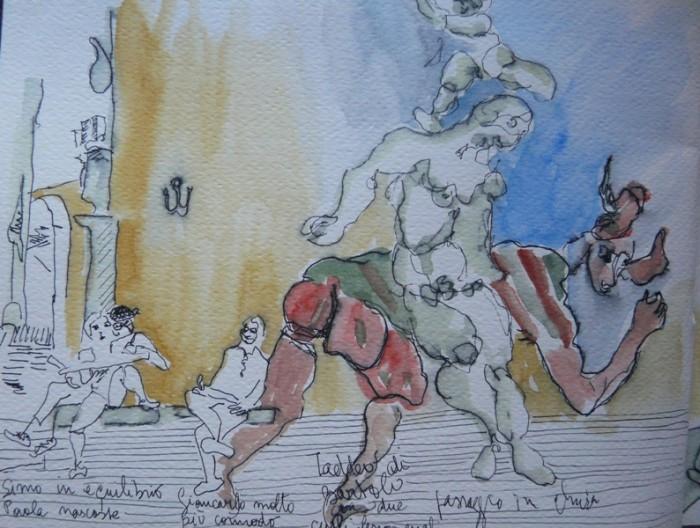 Caroline Peyron: Zeichner und Gaukler auf der Piazza dei Priori