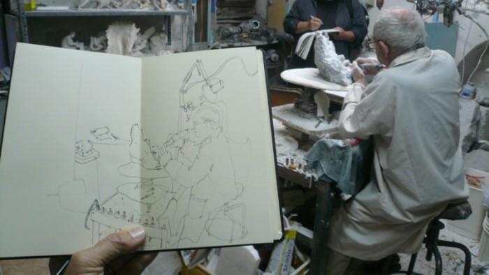"""Simo Capecchi: L'alabastraio """"Il Pupo"""" nel suo studio"""
